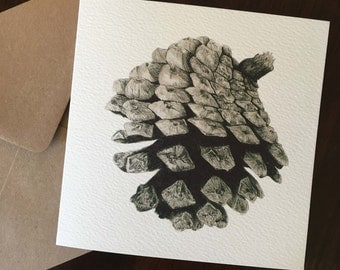 Pinecone illustrated greeting card