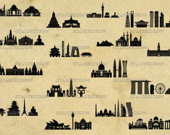 Digital SVG PNG JPG World Landmarks, vector, clipart, silhouette, instant download