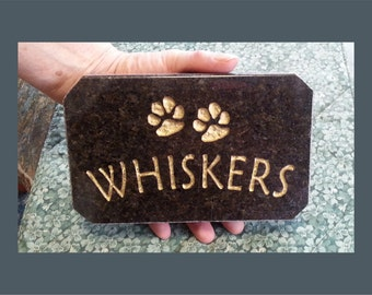 Cat Memorial Stone 8x5, Deep Etched on Polished Stone - FREE SHIPPING!