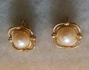 Monet faux pearl earrings