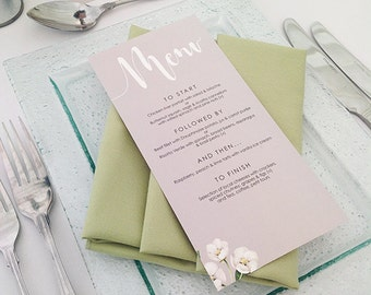 Wedding menu - Botanicals design and printed on textured card