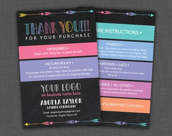 Lularoe Thank You - Care Instructions Card - Lularoe Black - Care Card