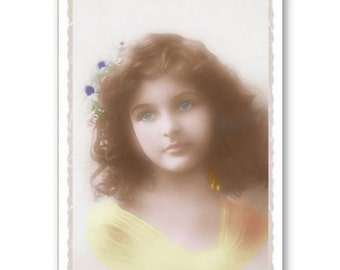 Personalised Handmade Greetings Card ~ Vintage Postcard of A Child  #21