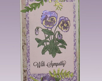 With Sympathy Handmade Card with Tag, Graphic 45, Springtime Theme, Collage, CraftyCreations Art Stamp