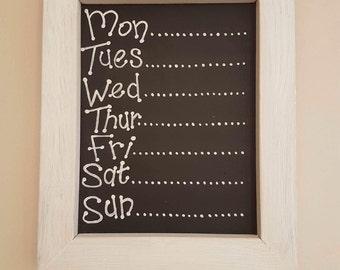 Wood Week Planner Chalk Board