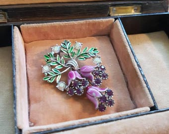 Gorgeous vintage Fuschia Flower Brooch - Leaves, flowers, aurora borealis, and mauve purple rhinestones diamante