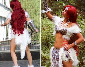 Halloween Cosplay Sexy Woman Costume White fur