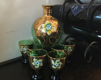 Hand painted Whiskey Decanter Set