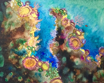 Undersea Watercolor Painting, Coral Reef Ocean Watercolor on Paper Original Painting, Small, Blue, 8 x 10, Colorful Illustration