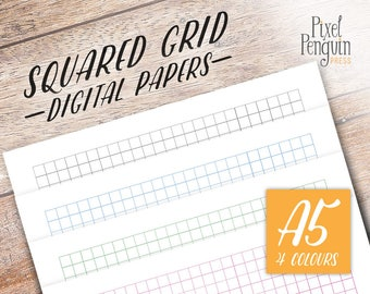 Grid Line Paper, Graph Paper Journal Printable, A5 Planner Insert Page, A5 Agenda Inserts, Bullet Journal Template Refill, Instant Download