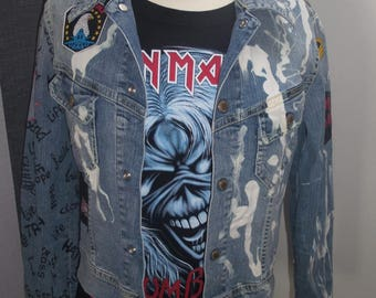 "Vintage Customized Jeans Jacket  Women Size M ""Rock 'em All""."