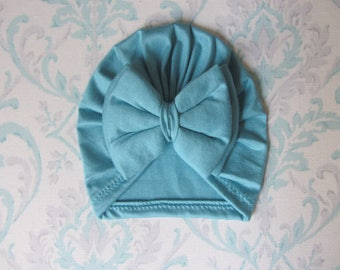 Blue Meadow Double Bow Turban Hat