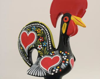 Big Portuguese Rooster size XL and XXL. Galo de Barcelos, Traditional pattern, totally handpainted, Good Luck Rooster, gift.