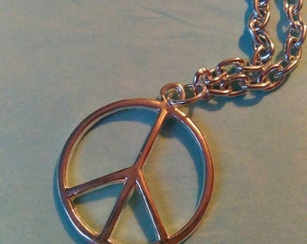 Hippie Peace Sign Long Silver Plated Pendant Necklace Handmade