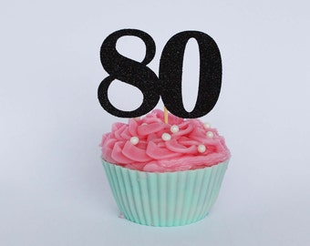 80th Birthday Cupcake Toppers, 80th Birthday Party, Number Cake Toppers, Glitter Cake Toppers, Party Decorations, Party Supplies
