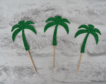 palm tree cupcake toppers tropical party decor birthday party decor beach party - Palm Tree Decor
