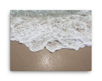 Waves Crashing On The Beach Close Up - Beach Canvas, Home Decor, Office Decor, Canvas Art