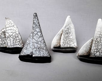 boats sailboats Raku ceramic
