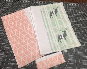 Woodland minky scrap fabric, Deer scrap fabric, Tree scrap fabric, baby girl minky fabric, Sewing & Crafting Supplies, Minky fabric destash