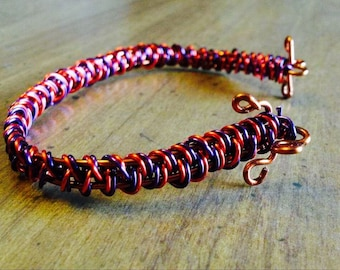Purple and Copper Wire Bracelet
