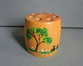 Vintage Wooden Painted Pencil Holder. Barrel Shaped.