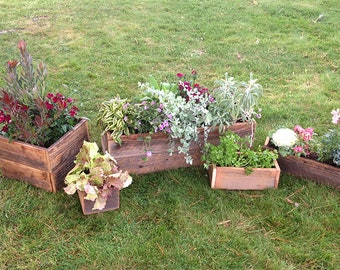 Rustic Reclaimed Redwood Planter Boxes