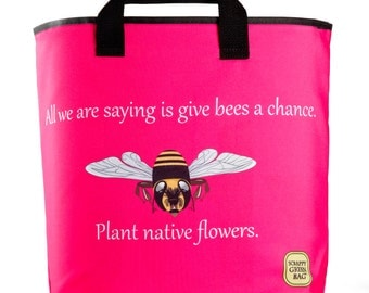 Reuseable Market Bag - Made from Recycled Materials - Eco-Friendly - Washable - Grocery Bag - Honey Bees - Pink - Dye Sublimation