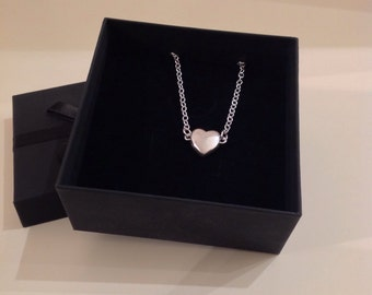 Sterling silver heart on sterling silver chain, silver necklace in presentation box