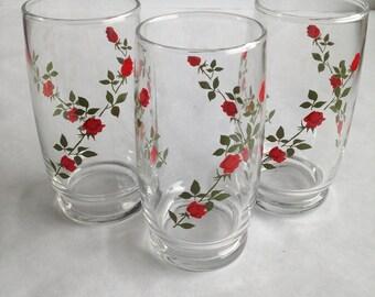 Red Rose Drinking Glasses // Set of 3 // 1970s // Vintage