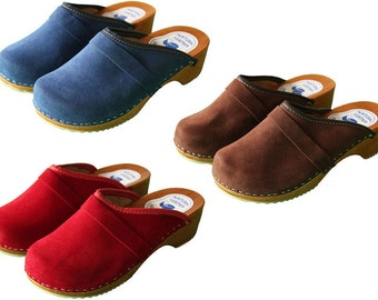 Swedish Danish Velour Clogs Wooden Sole 100% Beach Leather Upper 3 4 5 6 7 8