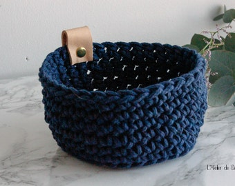 Crochet basket and leather, indigo