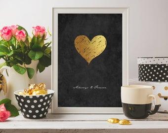 Grunge giclee print, Wall art print, Black and gold, Gift for her, Typography print, Heart print, Modern print, Minimalist print, Giclee