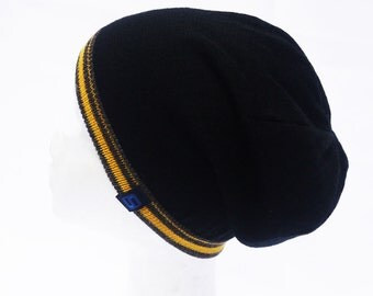 Reversible hat NAEMI, pure new wool hat, hat for boys, hat for men, two-sided portable Cap