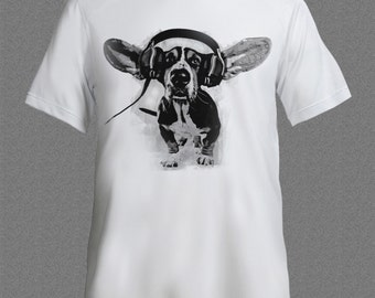 DJ dog Music Dubstep Techno Rave Headphones House Turntable D&B T-shirt