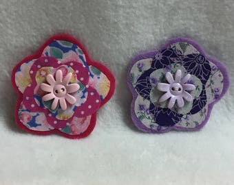 Flower Hair Clips - Set of 2 (#001.11)