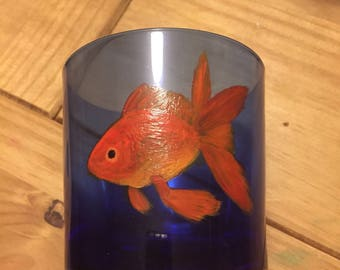 Goldfish Glass-Blue Drinking Glass With Fish