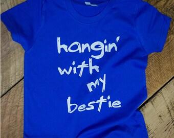 Hanging With My Bestie - Boys Tshirt - Boys Top - Boys Tees - Boys Shirt - Boys' Clothing - Boy Toddler - Best Friends - Unique Shirts