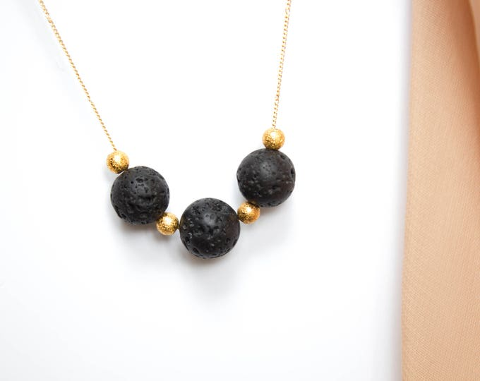 Lava and Gold Beads Necklace