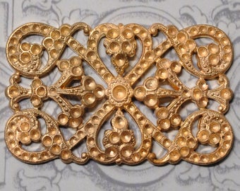 Vintage French Die Cast Rhinestone or Paste Setting Buckle Brooch Finding Raw Brass 1 Piece 403J