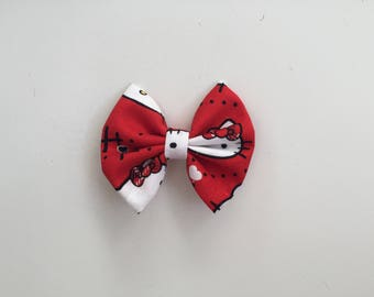 Red Hello Kitty with glasses fabric hair bow or bow tie