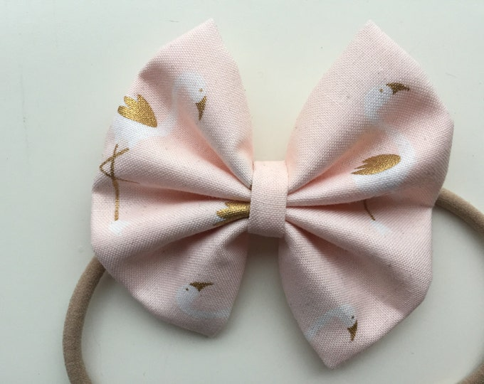 Pale Peach Flamingo fabric hair bow or bow tie