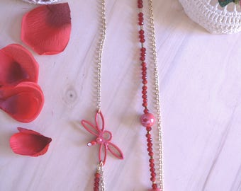 Long necklace and Red dragonfly
