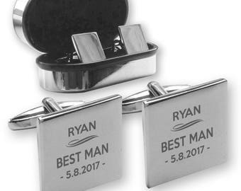 Personalised engraved BEST MAN wedding cufflinks, in a chrome coloured presentation box - DU7