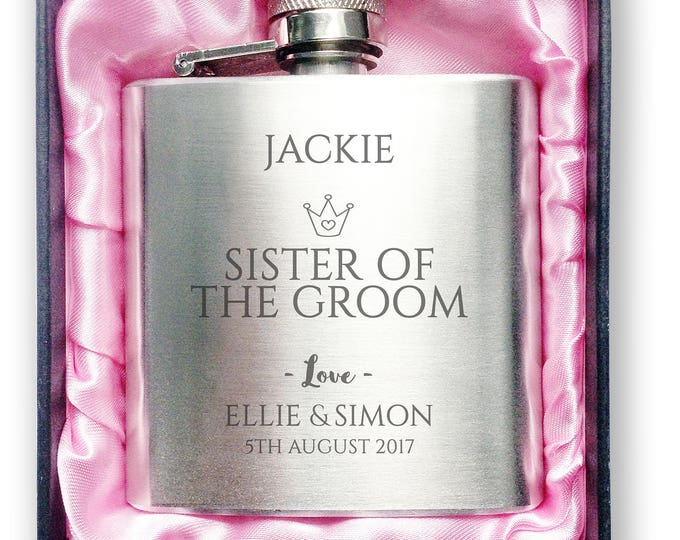 Personalised engraved SISTER of the GROOM stainless steel hip flask wedding thank you gift idea, handbag sized + presentation box - 3CR7