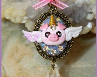 Pig unicorn necklace