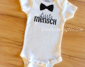 Little Mensch, Jewish Baby, Baby Boy Onesie, Bow tie, Baby boy, Jewish, Mensch, Baby Boy, Bodysuit