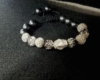 Shamballa Swarovski Skull Bracelet Macrame