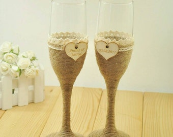 Personalized Wedding Glasses, Wedding Champagne Toasting Flutes, Customized Names & Date, Burlap Lace Rustic Flutes Bride and Groom