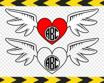 Monogram decal Svg Heart with angel wings Files for Cricut Silhouette Clipart DIY Dxf Pdf Png