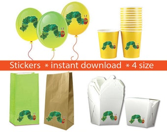 Instand DL -The very hungry caterpillar Stickers PARTY FAVORS Printable Labels for Balloons, Treat bags, cups and Boxes